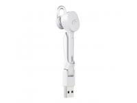Handsfree Casca Bluetooth Remax Mini + Statie incarcare USB, MultiPoint, Alb, Blister RB-T27
