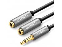 Adaptor Audio Splitter UGREEN Dual 3,5 mm mini jack AUX, 0.2 m, Argintiu, Bulk