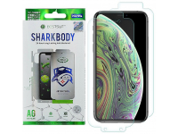 Folie Protectie Ecran OEM pentru Apple iPhone X / Apple iPhone XS, Plastic, Full Cover, Full Glue, Shark antibacterial, Blister