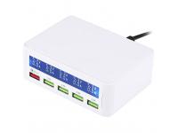 Hub Usb 4 porturi USB 3.0 OEM, 40W QC3.0 2.4A, cu display LCD,  Alb, Blister
