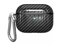 Husa TPU Carbon Fiber OEM, cu incarcare Wireless si breloc pentru Airpods Pro, Neagra  Blister