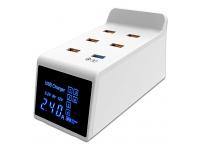 Incarcator Retea Statie USB OEM CDA31 40W, cu LED Display, QC 3.0 USB, 5 x USB, Alb, Blister