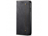 Husa Piele OEM Denim pentru Samsung Galaxy M30s, cu suport carduri, Neagra, Bulk