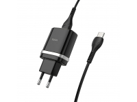 Incarcator Retea cu cablu USB Tip-C HOCO C12Q, QC3.0, 1 X USB, Negru, Blister