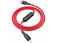 Cablu Date si Incarcare USB la Lightning HOCO Timing S13, 1.2 m, Rosu, Blister