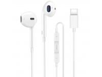 Handsfree Casti EarBuds XO Design EP2, Cu microfon, USB Type-C, Alb