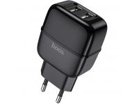 Incarcator Retea USB HOCO C77A, 2 X USB, 2.4A, Negru, Blister