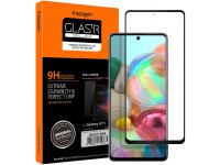 Folie Protectie Ecran Spigen pentru Samsung Galaxy A71 A715, Sticla securizata, Full Face, Full Glue, 9H, Neagra, Blister AGL01049