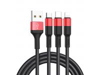 Cablu Incarcare USB - Lightning / USB Type-C / MicroUSB HOCO X26 Xpress, 1 m, Negru Rosu, Blister