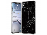 Husa TPU WZK Marble pentru Samsung Galaxy A41, Neagra, Blister