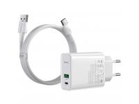 Incarcator Retea cu cablu USB Tip-C Baseus VOOC Quick Charge 4.0, 1 X USB - 1 X USB Tip-C, Alb, Blister TZCCFS-H02