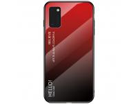 Husa TPU OEM Gradient cu spate din sticla pentru Samsung Galaxy A41, Neagra Rosie, Bulk