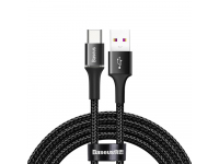 Cablu Date si Incarcare USB la USB Type-C Baseus Halo cu LED, 5A, 40W, 2 m, Negru, Blister CATGH-H01