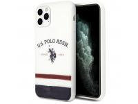 Husa TPU U.S. Polo Tricolore Blurred pentru Apple iPhone 11 Pro, Alba, Blister USHCN58PCSTRB