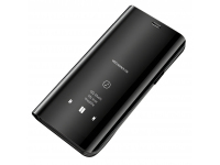 Husa Plastic OEM Clear View pentru Huawei Y6p, Neagra, Blister