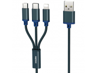 Cablu Incarcare USB - Lightning / USB Type-C / MicroUSB Remax RC131th, 3in1 Gition, 1.15 m, Bleumarin, Blister