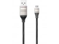 Cablu Date si Incarcare USB la MicroUSB Remax Luminous Disco RC-130m, 1 m, Negru, Blister