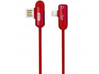 Cablu Audio Splitter USB - Lightning/ 3,5 mm XO Design NB38, 2.4A, 1 m, Rosu, Blister
