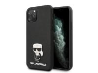Husa TPU Karl Lagerfeld Saffiano Iconik pentru Apple iPhone 11 Pro Max, Neagra, Blister KLHCN65IKFBMBK