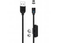 Cablu Incarcare USB - Lightning / USB Type-C / MicroUSB XO Design NB128 Magnetic 3in1, 2.4A, 1 m, Negru