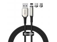 Cablu Incarcare USB - Lightning / USB Type-C / MicroUSB Baseus Zinc magnetic 2A, 2 m, Negru, Blister TZCAXC-G01