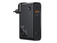 Incarcator Retea cu cablu USB Tip-C Baseus GaN, PPS 45 W + Baterie externa Wireless 10000 mAh, 1 X USB - 1 X USB Tip-C, Negru, Blister PPNLD-C01