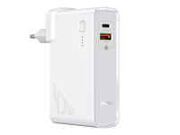 Incarcator Retea cu cablu USB Tip-C Baseus GaN, PPS 45 W + Baterie externa Wireless 10000 mAh, 1 X USB - 1 X USB Tip-C, Alb, Blister PPNLD-C02