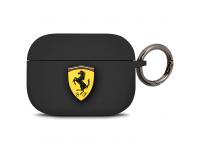 Husa TPU Ferrari pentru Apple Airpods Pro, Neagra FEACAPSILGLBK