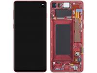 Display - Touchscreen Samsung Galaxy S10 G973, Cu Rama, Rosu (Cardinal Red) GH82-18850H