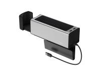 Suport Auto Universal Baseus CRCWH-A0S, 2 Compartimente + Suport Pahar, 2x USB, Argintiu