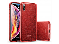 Husa TPU ESR Makeup Red Sparkle pentru Apple iPhone X / Apple iPhone XS, Rosie, Blister