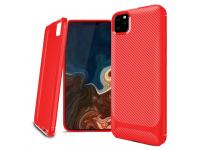 Husa TPU Enkay Carbon pentru Apple iPhone 11 Pro Max, Rosie, Blister ENK-PC019