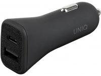 Incarcator Auto USB UNIQ Votra Duo, Power Delivery (18W) + USB (12W), 1 X USB - 1 X USB Tip-C, Gri, Blister