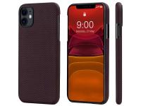 Husa Fibra Aramida Pitaka MagEZ pentru Apple iPhone 11, Car Case Magnet, Tesatura patrata (Plain), Neagra Rosie, Blister KI1104R