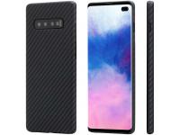 Husa Fibra Aramida Pitaka MagEZ pentru Samsung Galaxy S10+ G975, Car Case Magnet, Tesatura diagonala (Twill), Neagra Gri, Blister KS1001S