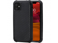 Husa Fibra Aramida Pitaka MagEZ Case Pro pentru Apple iPhone 11, Car Case Magnet, Tesatura diagonala (Twill), Neagra Gri, Blister KI1101RP