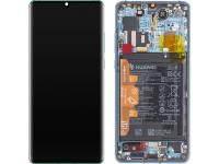 Display - Touchscreen Huawei P30 Pro, Cu Rama, Acumulator Si Piese, Albastru (Aurora Blue) 02352PGE