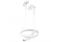 Handsfree Casti In-Ear HOCO L10, Cu microfon, USB Type-C, Alb