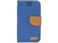 Husa Textil OEM Canvas, dimensiuni interioare 145 x 80mm pentru Telefon 5 inci, Bleumarin