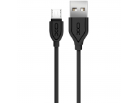 Cablu Date si Incarcare USB la MicroUSB XO Design NB8, 2.1A, 1 m, Negru, Blister
