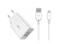 Incarcator Retea cu cablu Lightning WK-Design WP-U56, 2 X USB, 1m, Alb, Blister