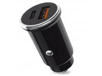 Incarcator Auto USB XO Design CC25, QC 3.0, 5A, 1 X USB - 1 X USB Tip-C, Negru, Blister