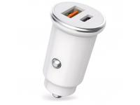 Incarcator Auto USB XO Design CC25, QC 3.0, 5A, 1 X USB - 1 X USB Tip-C, Alb, Blister