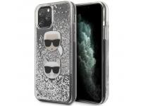 Husa TPU Karl Lagerfeld Glitter Karl & Choupette pentru Apple iPhone 11 Pro, Argintie, Blister KLHCN58KCGLSL