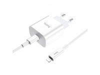 Incarcator Retea cu cablu Lightning HOCO C76A, PD 3.0, 1 X USB Tip-C, Alb, Blister