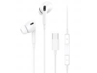 Handsfree Casti In-Ear Usams EP-41, Cu microfon, USB Type-C, Alb