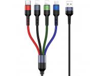 Cablu Date si Incarcare USB -2xLightning / USB Type-C / MicroUSB Usams U26, 2A, 3 m, Multicolor, Blister SJ413USB01