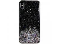 Husa TPU WZK Star Glitter Shining pentru Samsung Galaxy A41, Neagra, Blister
