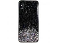 Husa TPU WZK Star Glitter Shining pentru Samsung Galaxy A20e, Neagra, Blister