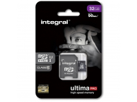 Card Memorie MicroSDHC Integral Ultima PRO, 32Gb, Clasa 10, UHS-I, 90 MB/s, cu adaptor, Blister INMSDH32G10-90U1